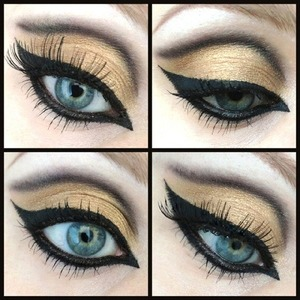I created this Arabic inspired makeup using Sleek's I-Divine 'Sparkle 2' Palette and Collection's Fast Stroke Liner.