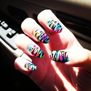 rainbow and zebra nails and glitter