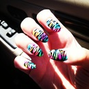 rainbows and zebra nails