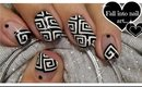 Greek Style Square Spirals Nail Art | Black and White Squares Nails ♥