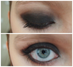 My first attempt at a smokey eye and I felt like going super dark and intense. It was kinda Tyra Banks inspired.