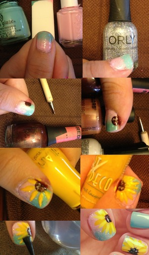 Beauty Secrets; base coat. China Glase: for audrey. Essie: good morning hope. Orly: shine on crazy diamond. Finger Paints: picasso's puce. L.A. Colors: antique rose. Klean Color: white.  Milani Nail Art: yellow. L.A. Colors Nail Art: yellow. CND Air Dry Top Coat.