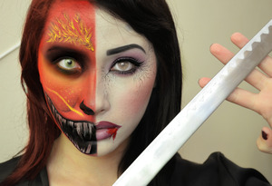 Twisted Mulan and Mushu used my sugarpill pro palette, makeupforever flash color palette, and occ lip tar in NSFW (used as blood). Happy Halloween!