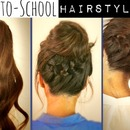 Hair Tutorial | Cute Back-to-School Hairstyles : Braided Ponytail Messy Bun!