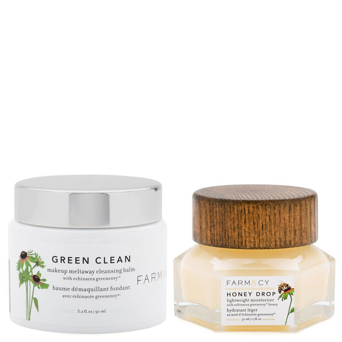 Farmacy Green Clean Makeup Meltaway Cleansing Balm & Honey Drop Lightweight Moisturizer Bundle product swatch.