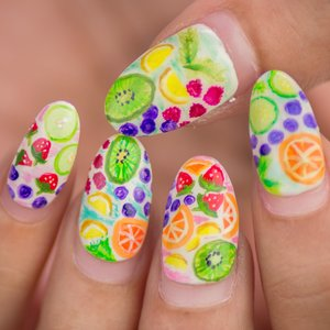 Spring is definitely my favorite time of the year and also brings out the best of my nail art creativity! Here's a design inspired by fruits & detox water 🍓🍇🍉🍏🍐🍊🍋