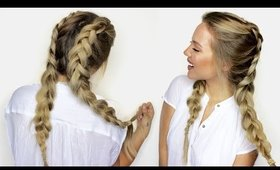 How to do Double Dutch Braids with Extensions (Kim Kardashian Inspired Braids Hair Style)