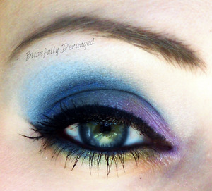 Shadows are by My Beauty Addiction in American Violet, Monoco Blue, Lemon Zest and Linen.