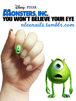 Everyone watched Monster Inc growing up, right? I mean this movie is just part of our childhood! peek-a-boo!  Just to relive my childhood I decided to draw Monster Inc's dominate character Mike Wazowski on my nails.  Enjoy!  nleenails.tumblr.com @nleenails