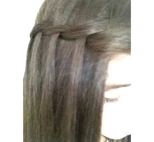 It's really easy, just get two strands of hair and start twisting them. Every time you do one twist, grab a strand of hair in from the top. Don't add it in, let it fall through the twist.