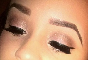 eyes.  winged liner. a dab of glitter from lime crime. pink shadow combo from lancome