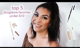TOP 5 DRUGSTORE MAKEUP FAVORITES UNDER $10 | queencarlene