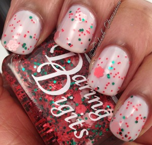 Clear base with red and pink flower glitter and red and green microglitter