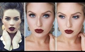 Glam Fall/Autumn Makeup ♡ Bold Dark Red Lips - Shaaanxo
