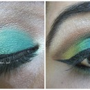 Peacock inspired eye makeup