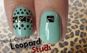 Easy Nail Art Design ★ Leopard Stud Nails ★ Short and Long Nails