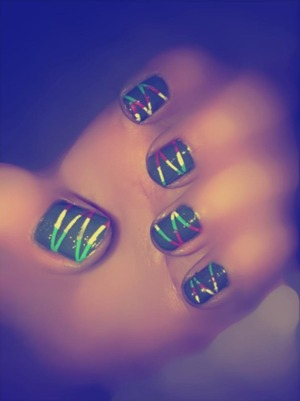 I used neon yellow,green & red polish.let it dry,i cut short pieces of nail tape & apply black polish on top of the 3 colours .Peel out the tapes & there you go a cute nail for long or short nails;)