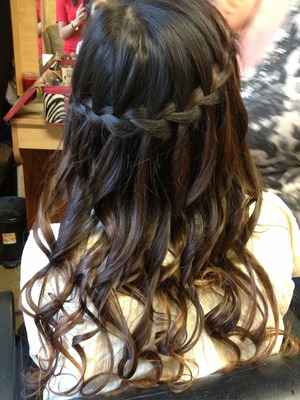 Waterfall braid with curls!