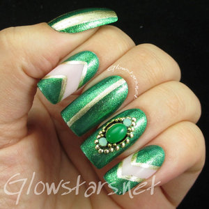 Read the blog post at http://glowstars.net/lacquer-obsession/2015/07/green-and-gold-skittles/