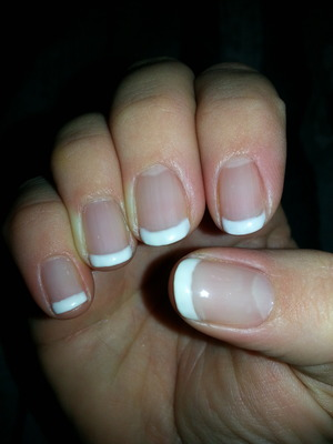 I used Gelish foundation and top coat with white tips in gel by Finger Paints.