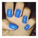 Blue glittered.