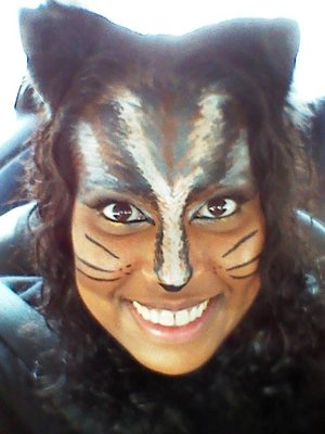 The Kitty makeup I did to attend the filming of a game show.  Would also be great for masquerades or Halloween