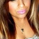 golden eyes pink lips