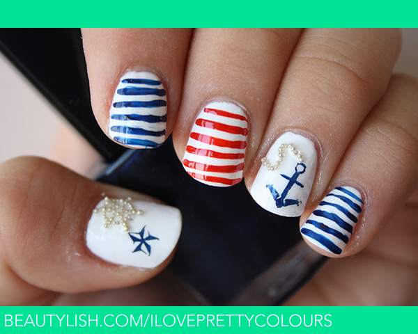 Nautical Nails   Stefani J.\'s (iloveprettycolours) Photo   Beautylish