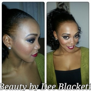 Classic black smokey eye and red lip combo, with some sparkle for good measure. Performance makeup