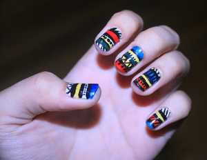 Tribal Aztec design by this amazing girl: http://www.youtube.com/user/cutepolish?feature=chclk