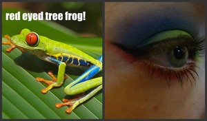 my red eyed tree frog makeup idea (: