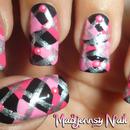 Pink Argyle Scottish Nail Art