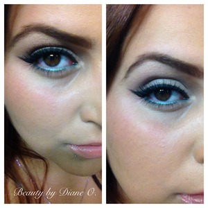 Soft eye with a pop of color, products use all mac!
