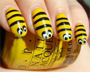 Nail tutorial & more photos here: http://www.swatchandlearn.com/nail-art-tutorial-bee-nails/