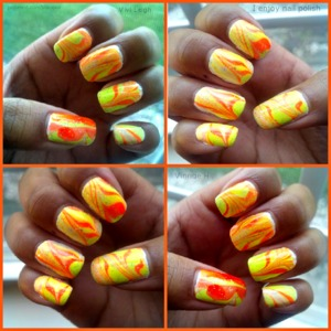 Vinnae h vilicious my nail art gallery beautylish neon orange yellow water marble designs prinsesfo Gallery