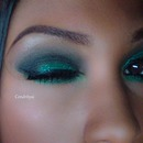 [Party makeup 2013-2014] Green glitter smokey eyes