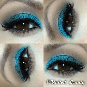 I use a brown shadow in my crease and use a color tattoo in teal as a base for my teal eyesahow then blend together