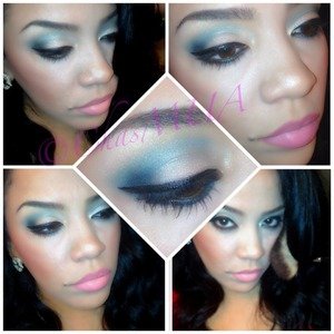 Mac mineral skinfinish in soft and gentle with urban decays deep end and black out with wet n wild h2o liquid eyeliner
