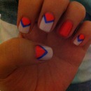 Blue, coral, nude nails