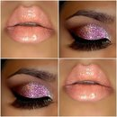 Glitter and pink eyeshadow