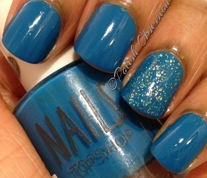 Kleancolor Sparkle Emerald accent nail http://www.polish-obsession.com/2013/05/top-shop-marine-scene.html