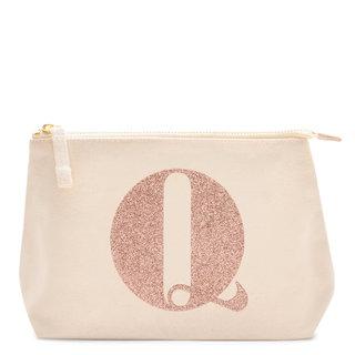 Rose Gold Glitter Initial Makeup Bag Letter Q