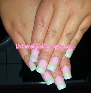 Glitter Acrylic French with Neon Yellow Smile Line.