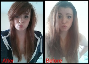 My hair before and after having it cut