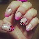 valentines leopard nails.