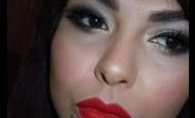 Smokey Eyes with Red Lip
