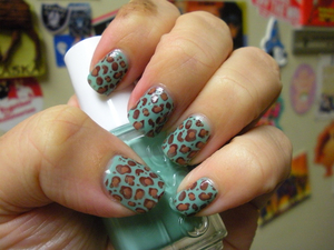 Essie Turquoise and Caicos, Essie Chocolate Kisses, OPI Chocolate Moose, and Konad stamp plate