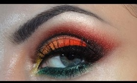 Red, orange, yellow, green crease cut