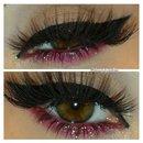 Red Glitter Makeup Look
