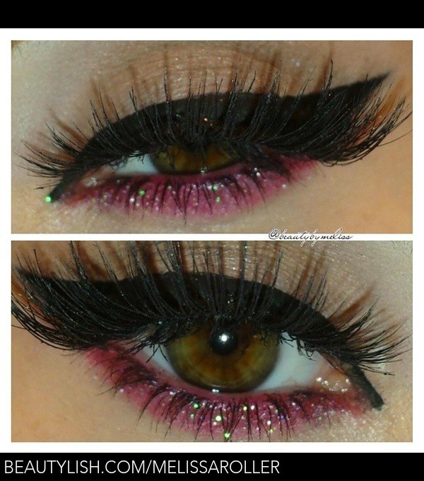 Red Glitter Makeup Look
